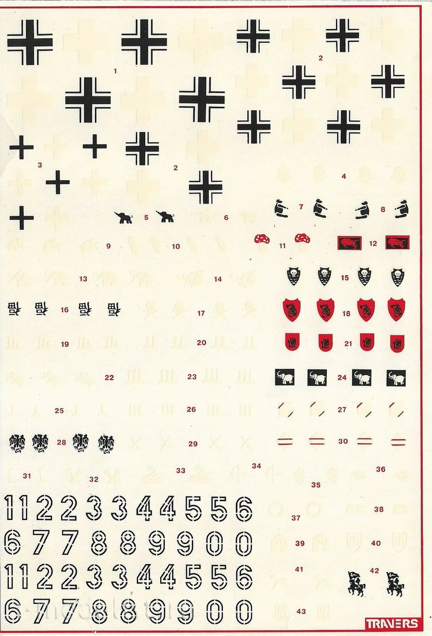 3501X 1/35 Decal for Tigers (crosses, numbers, emblems)